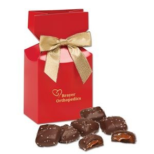 Chocolate Sea Salt Caramels in Red Gift Box